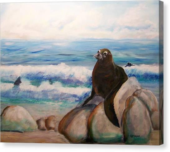 Sea Lion Canvas Print by Rich Mason