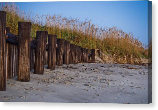 Sea Oats And Pilings Canvas Print