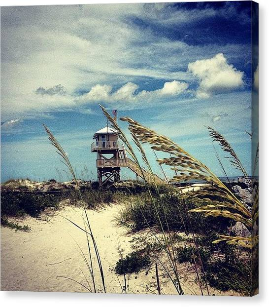 Lifeguard Canvas Print - Sea Oats #ponceinlet #florida #beach by Hilary Solack