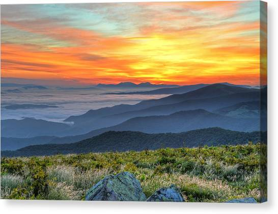 Sea Of A Sunrise Canvas Print by Mary Anne Baker