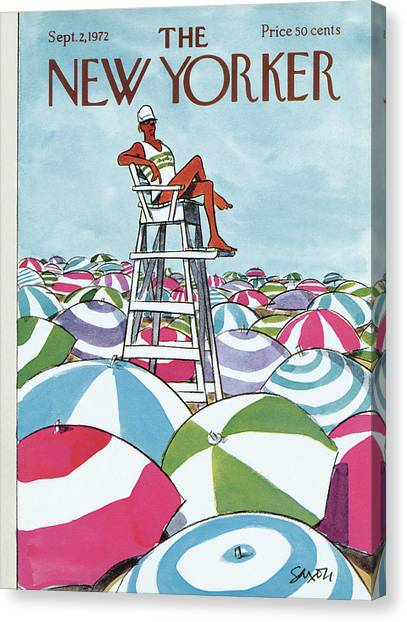Lifeguard Canvas Print - Sea Of Umbrellas by Charles Saxon