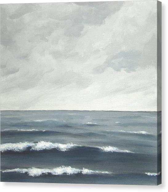 Sea On A Grey Day Canvas Print by Anna Bronwyn Foley