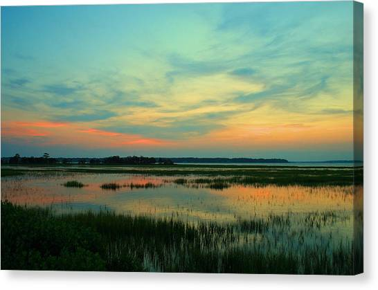 Marshes Canvas Print - Sea Pines Sunset by Tony Delsignore