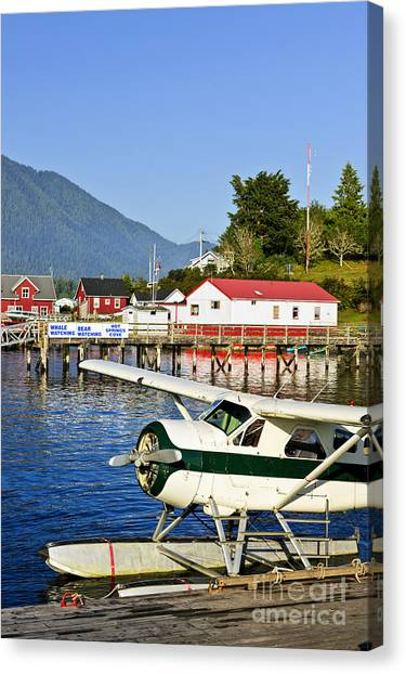 Pontoon Canvas Print - Sea Plane At Dock In Tofino by Elena Elisseeva