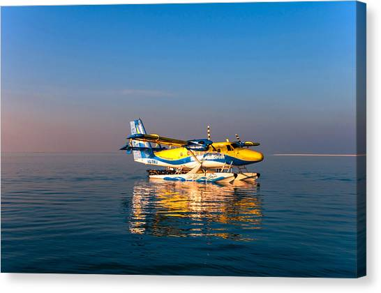 Seaplanes Canvas Print - Sea Plane At Sunrise On The Water. Maldives by Jenny Rainbow