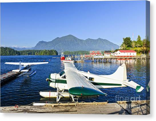 Pontoon Canvas Print - Sea Planes At Dock In Tofino by Elena Elisseeva