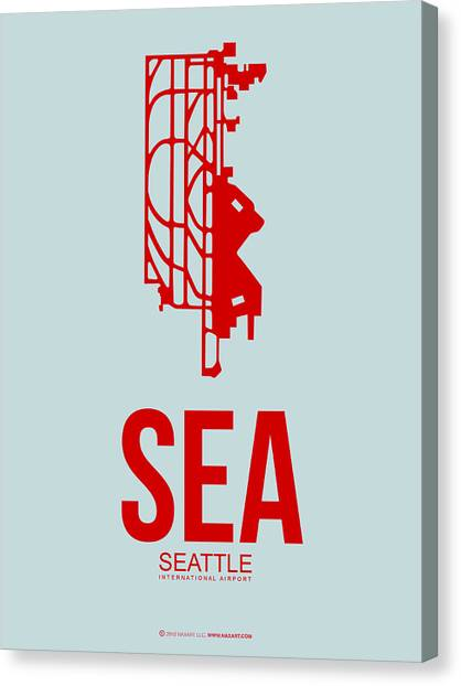 Washington Capitals Canvas Print - Sea Seattle Airport Poster 1 by Naxart Studio