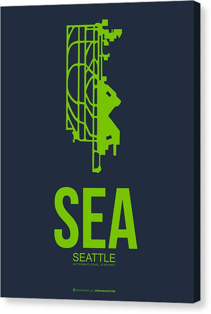 Seattle Canvas Print - Sea Seattle Airport Poster 2 by Naxart Studio