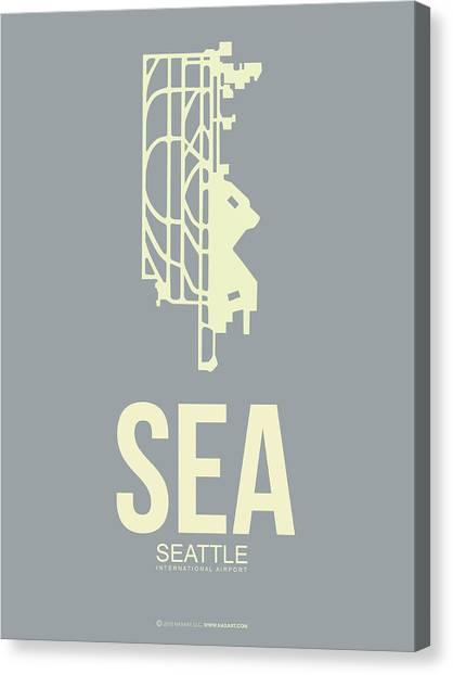 Seattle Canvas Print - Sea Seattle Airport Poster 3 by Naxart Studio