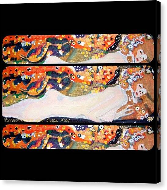 Watercolor Canvas Print - Sea Serpent IIi Tryptic After Gustav Klimt by Anna Porter