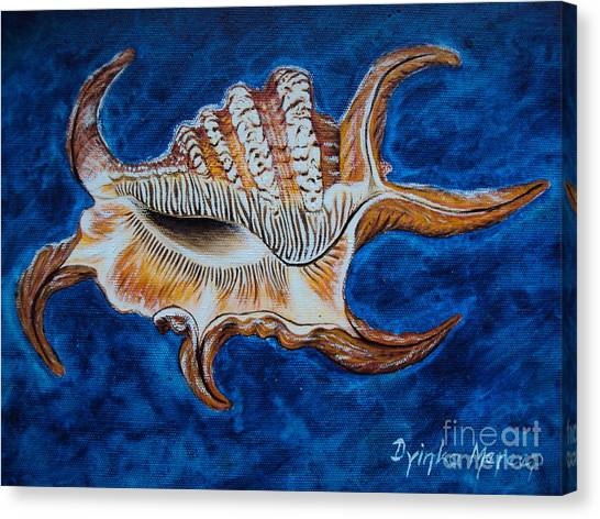 Sea Shell Original Painting Oil On Canvas No.3. Canvas Print by Drinka Mercep