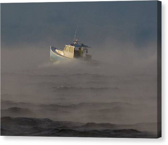 Sea Smoke Lobster Boat Canvas Print