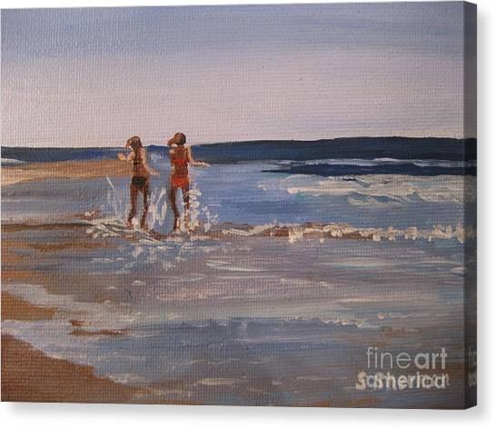 Sea Splashing On The Beach Canvas Print