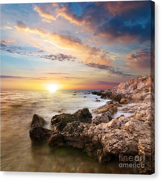Sea Stones Canvas Print by Boon Mee