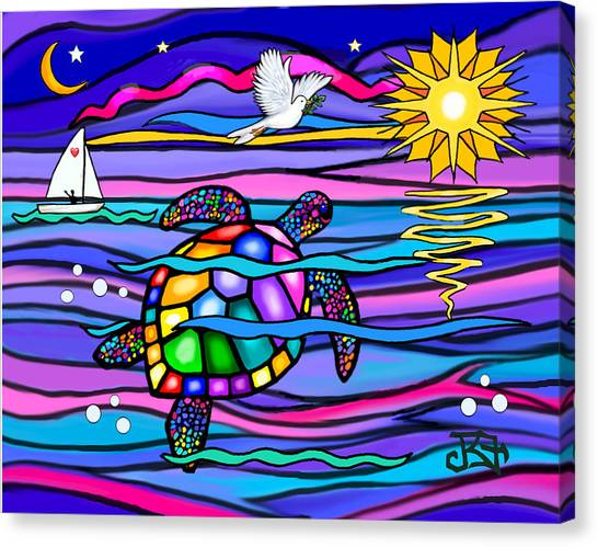 Sea Turle In Blue And Pink Canvas Print