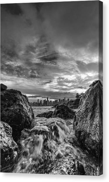 Sea Water Between Rocks Canvas Print