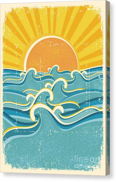 Symbols Canvas Print - Sea Waves And Yellow Sun On Old Paper by Tancha
