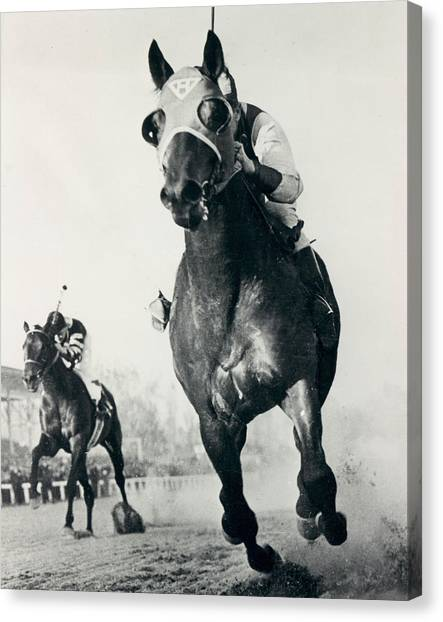 Horses Canvas Print - Seabiscuit Horse Racing #3 by Retro Images Archive