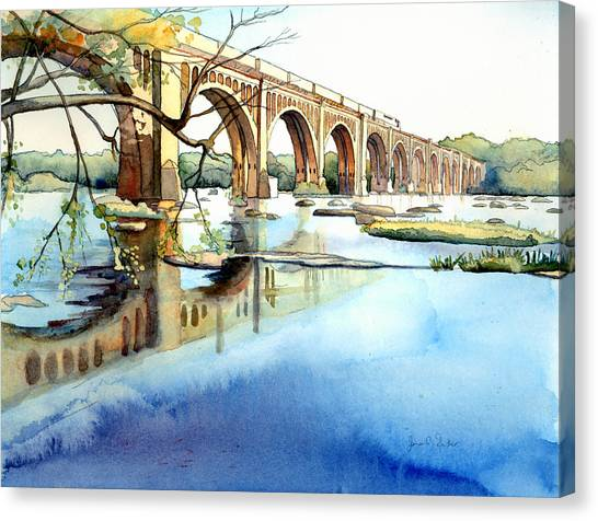 Trains Canvas Print - Seaboard Bridge Crossing The James  by Jim Smither