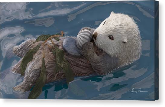 Otters Canvas Print - Seafood For Lunch by Gary Hanna