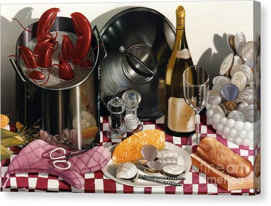 Clams Canvas Print - Seafood Serenade 1996  Skewed Perspective Series 1991 - 2000 by Lawrence Preston