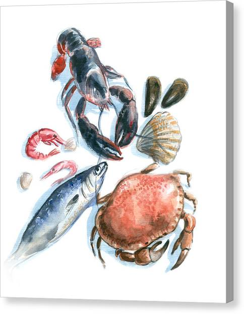 Seafood Watercolor Canvas Print by Axllll