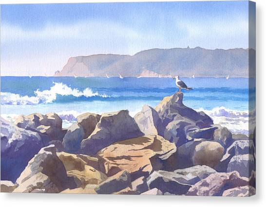 San Diego Canvas Print - Seagull And Point Loma by Mary Helmreich