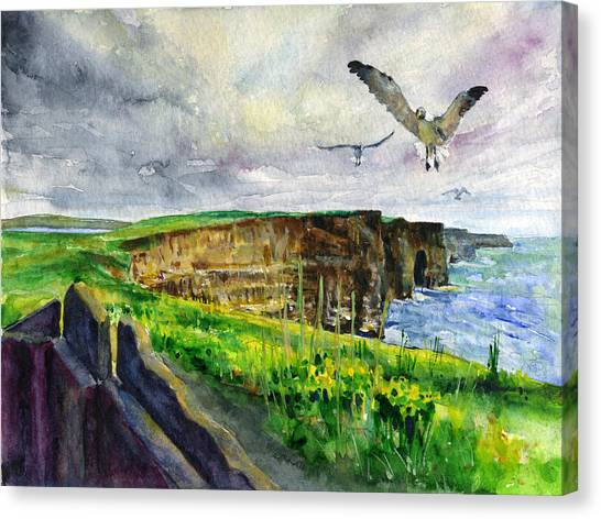 Seagulls At The Cliffs Of Moher Canvas Print