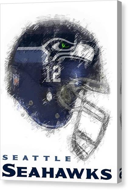 Nfl Canvas Print - Seahawks 12 by Daniel Hagerman