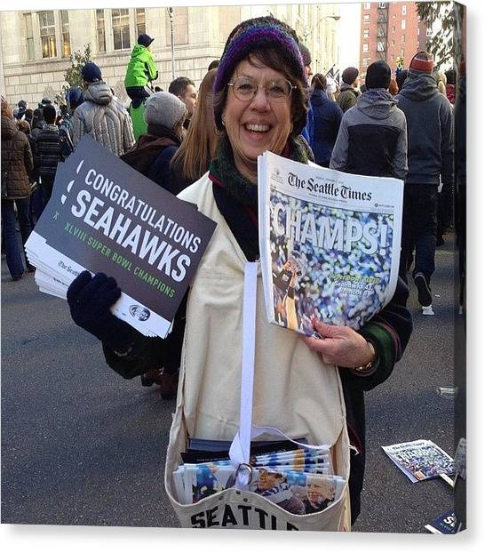 Seattle Seahawks Canvas Print - #seahawks Parade, #seattle #latergram by Phil Scroggs