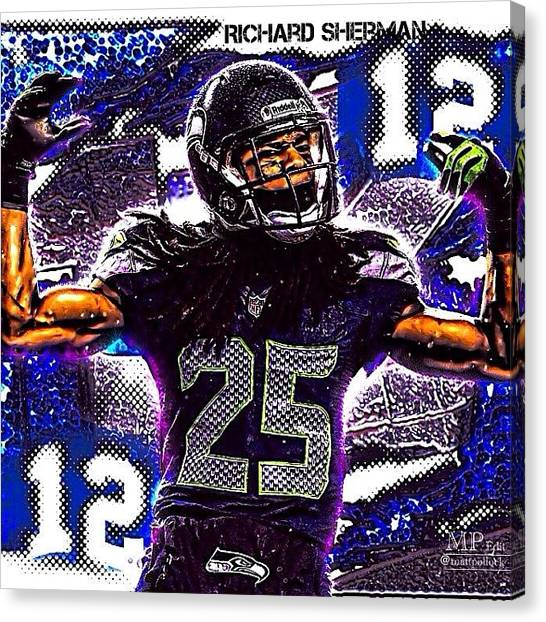 Seattle Seahawks Canvas Print - Seahawks Win With Great Defense! The by Matt Pollock