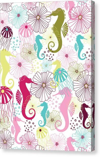 Susan Canvas Print - Seahorse Flora by Susan Claire