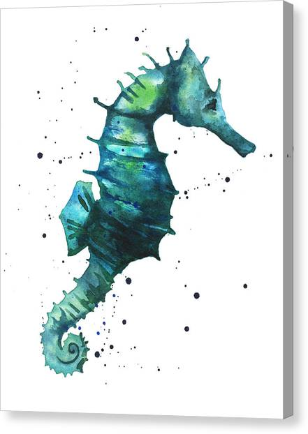 Beach House Canvas Print - Seahorse In Teal by Alison Fennell