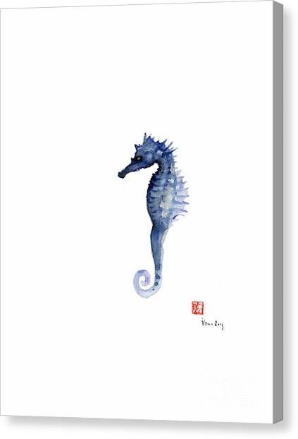 Seahorse Canvas Print - Seahorse Sea Horse Blue Fish Water Colors Collection Fishes Watercolor Painting by Johana Szmerdt