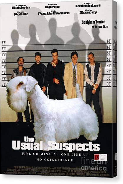 The Usual Suspects Canvas Print - Sealyham Terrier Art Canvas Print - The Usual Suspects Movie Poster by Sandra Sij