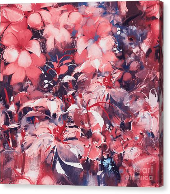 Nature Canvas Print - Seamless Abstract Flowers,oil Painting by Tithi Luadthong