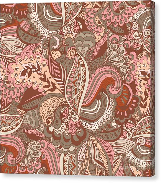 Design Canvas Print - Seamless Abstract Hand-drawn Floral by Radugaart