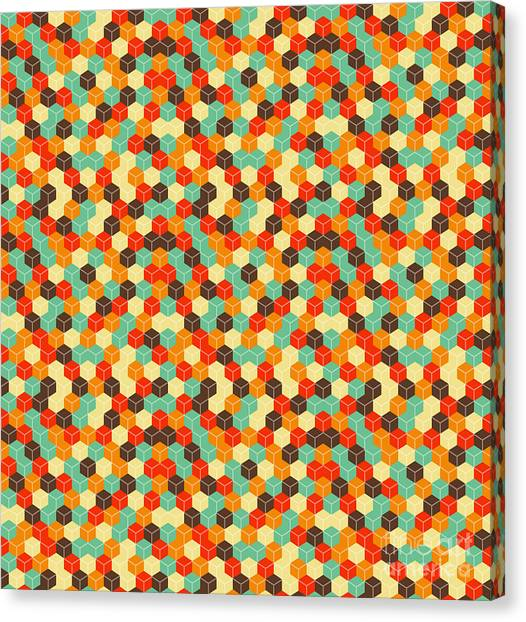 Block Canvas Print - Seamless Hexagonal - Cube, Cubic by Ravennka