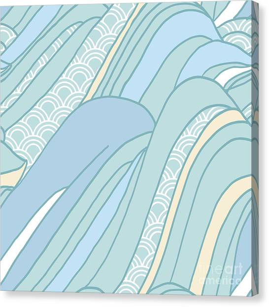 Seamless Japanese Pattern In Pastel Canvas Print by Hasselnott