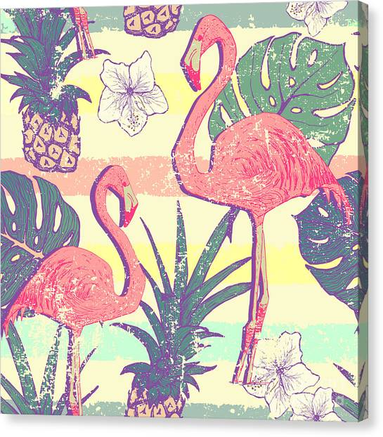 Seamless Pattern With Flamingo Birds Canvas Print by Julia blnk