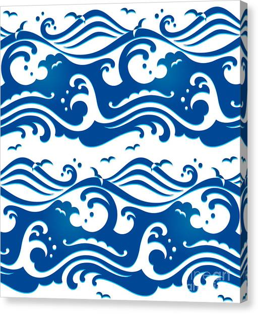 Seagull Canvas Print - Seamless Stormy Ocean Waves Pattern by Sahua D