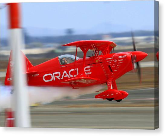 Sean Tucker And The Oracle Challenger II At Salinas Airshow Canvas Print