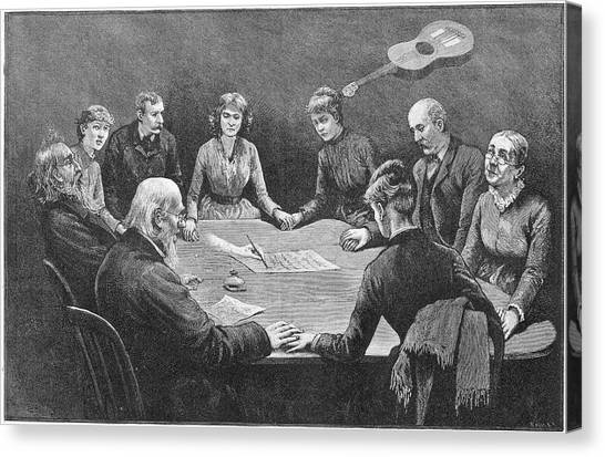 Seance At New York With An  Unnamed Canvas Print by Mary Evans Picture Library