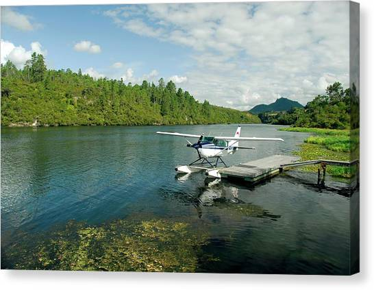 Pontoon Canvas Print - Seaplane Moored On A Lake by Cordelia Molloy/science Photo Library