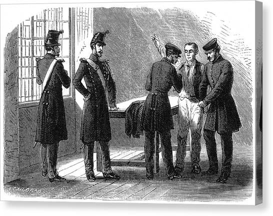 Searching A Suspect At A Prefeture Canvas Print by Mary Evans Picture Library