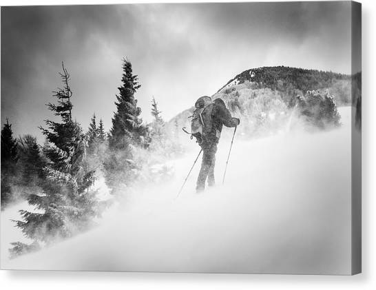 Winter Storm Canvas Print - Searching For A Path by Lubos Balazovic