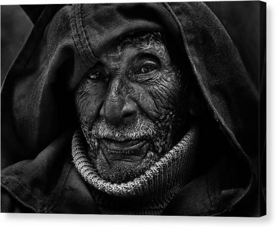 Old Man Canvas Print - Searching Look by Lou Urlings