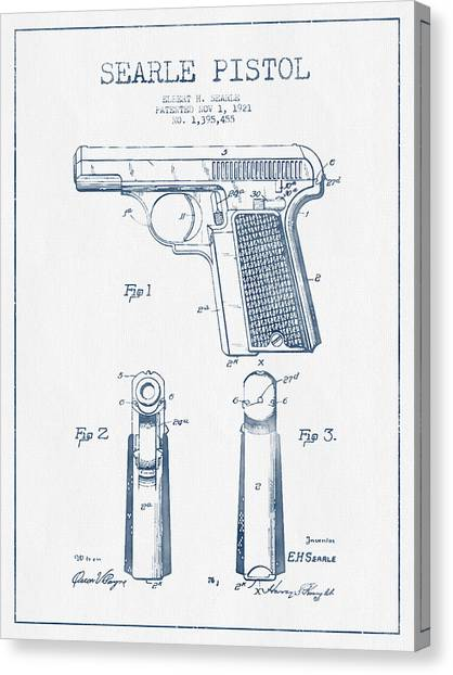 Weapons Canvas Print - Searle Pistol Patent Drawing From 1921 -  Blue Ink by Aged Pixel