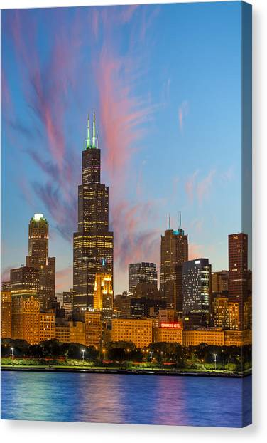 Sears Tower Canvas Print - Sears Tower Sunset by Sebastian Musial