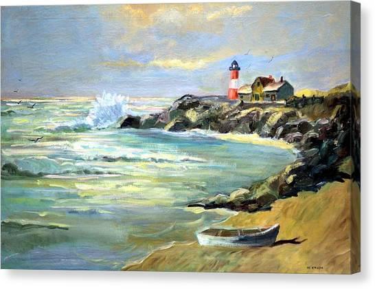 Seascape Lighthouse By Mary Krupa Canvas Print